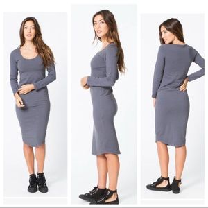 Monrow Stretch-cotton Long Sleeve Dress